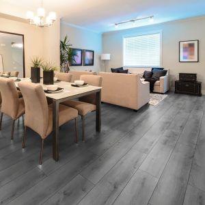 Grey laminate floor in living space