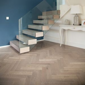 Engineered Wood - Herringbone Brookland Oak Grey Limewashed Matt Varnished 45x9cm