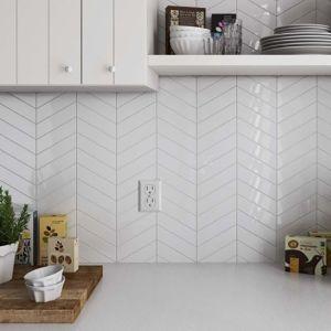 Chevron White Porcelain Mosaic Gloss 32.5x25cm Sheet